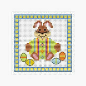 Bunny And Green Egg Easter Cross Stitch Card Kit