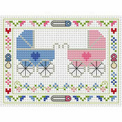 Welcome Twins Cross Stitch Card Kit