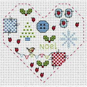 Christmas Heart Cross Stitch Card Kit