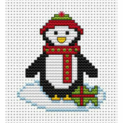 Christmas Penguin Cross Stitch Card Kit