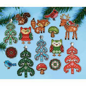 Woodland Christmas Ornaments Cross Stitch Kit