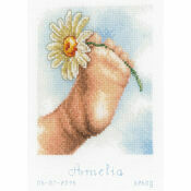 Baby Foot Birth Record Cross Stitch Kit