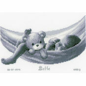 Sleeping Baby In Hammock Birth Sampler Cross Stitch Kit