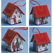 Set Of Four Santa House 3D Cross Stitch Kits
