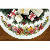 Holiday Harmony Tree Skirt Cross Stitch Kit