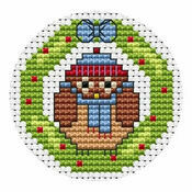 Owl Wreath Christmas Card Cross Stitch Kit