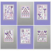Happy Birthday Cake Cross Stitch Card Kits (Set of 6)
