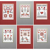 Christmas Red Cross Stitch Card Kits (Set of 6)