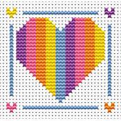 Sew Simple Rainbow Heart Cross Stitch Kit
