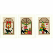 Christmas Atmosphere Cat Themed Cross Stitch Card Kits (Set of 3)