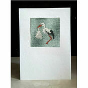 Ophelia The Stork (Blue) Mini Beadwork Embroidery Card Kit