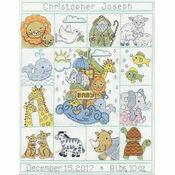 Noah\'s Animals Birth Sampler Cross Stitch Kit