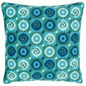 Blue Swirls Long Stitch Cushion Panel Kit