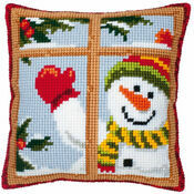 Snowman In Window Chunky Cross Stitch Cushion Panel Kit