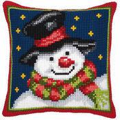 Snowman & Stars Chunky Cross Stitch Cushion Panel Kit