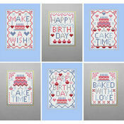 Cake Time Cross Stitch Birthday Card Kits (Set Of 6)