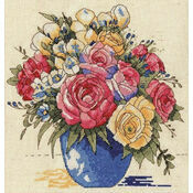 Pastel Floral Vase Cross Stitch Kit