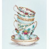 Turquoise Tea Cups Cross Stitch Kit