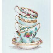 Turquoise Tea Cups Cross Stitch Kit