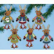 Christmas Jumper Reindeer Cross Stitch Ornament Kit