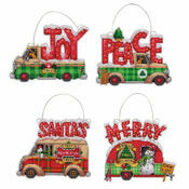 Holiday Truck Ornaments Set Cross Stitch Kit