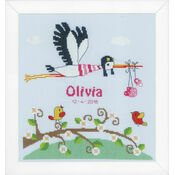 Stork Birth Sampler Cross Stitch Kit