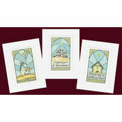 Stained Glass Christmas Cross Stitch Card Kits (Pack B)