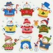 Slightly Dotty Snowmen Cross Stitch Kit