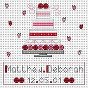 Pink Wedding Cake Cross Stitch Card Kit