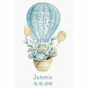 Rabbit In Balloon Birth Sampler Cross Stitch Kit