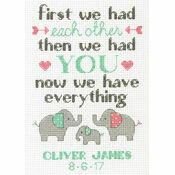 Elephant Family Cross Stitch Birth Record Kit