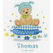 Bear On Pillow Cross Stitch Birth Record Kit
