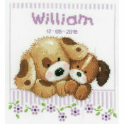 Cuddling Dogs Cross Stitch Birth Record Kit