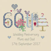 60th Diamond Wedding Anniversary Numbers Cross Stitch Kit