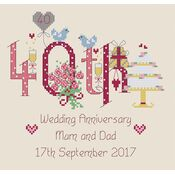 40th Wedding Anniversary Numbers Cross Stitch Kit