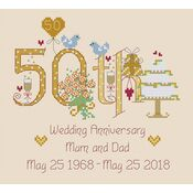 50th Wedding Anniversary Numbers Cross Stitch Kit