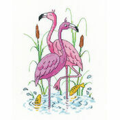 Flamingos Cross Stitch Kit by Karen Carter