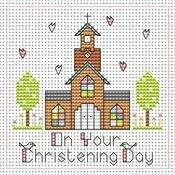 Tall Church Christening Girl Cross Stitch Card Kit