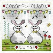 Twin Bunnies Cross Stitch Card Kit