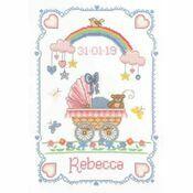 Over The Rainbow Birth Sampler Cross Stitch Kit
