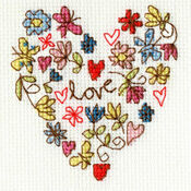 Sweet Heart Cross Stitch Card Kit