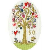 Golden Celebration Cross Stitch Card Kit