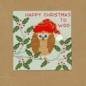 Xmas Owl Cross Stitch Christmas Card Kit