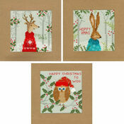 Xmas Deer, Hare & Owl Cross Stitch Christmas Card Kits