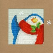 Snowy Penguin Cross Stitch Christmas Card Kit