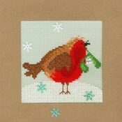 Snowy Robin Cross Stitch Christmas Card Kit