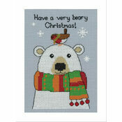 Bertie Polar Bear Cross Stitch Christmas Card Kit