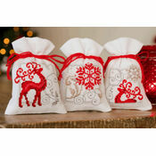 Deer with Snowflakes On White Pot Pourri Bags Set of 3 Cross Stitch Kits