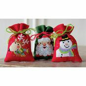 Christmas Faces Pot Pourri Bags Set of 3 Cross Stitch Kits