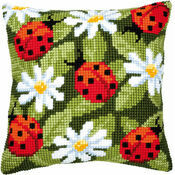 Ladybirds & Daisies Chunky Cross Stitch Cushion Panel Kit